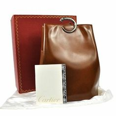 df26f9ed502a Auth Cartier Panther Logos Shoulder Bag Brown Leather France Vintage Box  2-0612b Panther Logo
