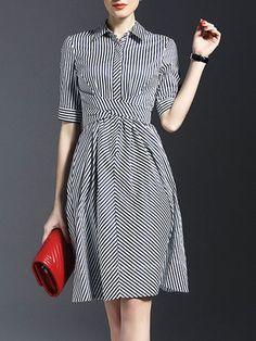 Black Half Sleeve Stripes Shirt Dress