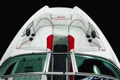 The twin-tip bow provides a wide lounge area in a sleek hull. Grab handles and…