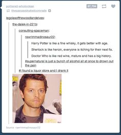 supernatural, harry potter, sherlock and the doctor also, a perfect Misha pic to sum it all up. Okay, now this is the perfect mix of my fandoms.i need a drink! Sam Dean, Fandoms Unite, Misha Collins, Jared Padalecki, Superwholock, Jensen Ackles, Martin Freeman, Sammy Supernatural, Castiel Gif