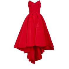 Zac Posen Silk Faille Strapless Dress ($9,490) ❤ liked on Polyvore featuring dresses, high-low dresses, strapless cocktail dress, red full skirt, strapless high low dress and strapless sweetheart dress