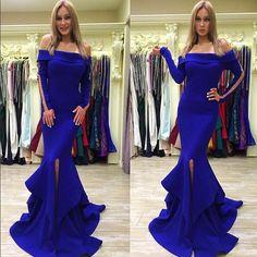 Royal Blue Long Sleeve Prom Dress,Long Prom Dresses,Charming Prom Dresses,Evening Dress, Prom Gowns, Formal Women Dress,prom dress
