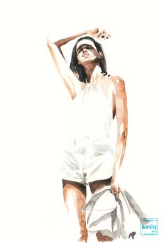watercolor on paper © kasiq . Fashion Illustration Sketches, Illustration Girl, Illustrations, Fashion Sketches, Human Figure Sketches, Figure Sketching, Watercolor Paintings For Beginners, Watercolor Portraits, Fashion Drawing Tutorial