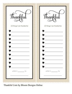 Free Thankful List Printables from Bloom Designs Online {on Facebook}
