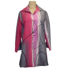 """A striking hand-dyed shirt in shades of pink, grey, and fuchsia featuring a retro design of eye catching slender wavy black lines. A-line shape with slanted forward side seams ending in 10"""" vents for a slenderizing look and added ease. Shirt collar, three quarter length sleeves, and button front. 10% dupioni silk. Dry clean. #fiberart #thesilkthread #fashionatanyage #shopsmall #artisanmade #artshirt #handmade #santafe #newmexico Retro Design, Shibori, Pink Grey, Stretch Fabric, Duster Coat, Shades, Eye, Silk, Button"""
