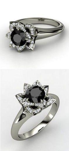 Halo Black Diamond Lotus Blossom Ring ♥ L O V E