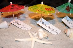 Beach Umbrella Escort Cards/Favors 1 by paulasbartlion on Etsy