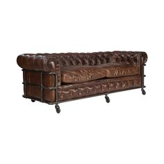 Add a touch of retro-inspired regality to your living room or study with this gorgeous Grant Leather Sofa. Comfortably crafted from fine leather, this stunning sofa features gorgeous button tufting and...  Find the Grant Leather Sofa, as seen in the Renovated Firehouse Collection at http://dotandbo.com/collections/renovated-firehouse?utm_source=pinterest&utm_medium=organic&db_sku=108391
