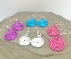 Boucles d'oreilles en spirale, très légères en aluminium et argent,  choisissez…