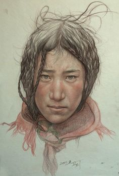 "William Wu; Colored Pencils, 2011, Drawing ""Portrait of Tibetan teenager"""