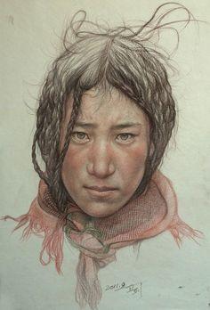"William Wu; Colored Pencils, 2011, Drawing ""Portrait of Tibetan teenager"""