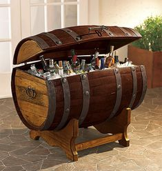 Reclaimed Tequila Barrel Ice Chest... I want this if I ever get a house with a pool!