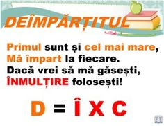 Planșe terminologie matematică -Deîmpărțitul Algebra, Little Einsteins, Kids Education, Kids And Parenting, Geography, Coloring Pages, Teacher, Science, Activities