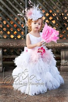 White or Ivory Fairy Feather Princess Ostrich Girls Dress by PoshBabyStore.com