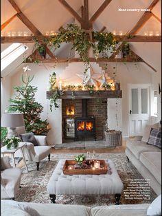 Cozy Christmas decoration - New ideas - # cozy decor . - Cozy Christmas decoration – New ideas – # cozy Cozy Christmas decor gray - Christmas Fireplace, Brick Fireplace, Cozy Christmas, Fireplace Ideas, Rustic Christmas, Country Fireplace, Christmas Lights, Country House Interior, Country Homes