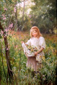 little-girl-gathering-flowers-on-a-meadow Alfred Glendening Jr. (1861-1907, English)