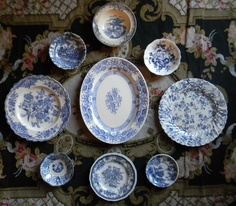 9 Vintage Mixed Blue English Transferware Plates  and Platter INSTANT WALL DISPLAY. $129.99, via Etsy.