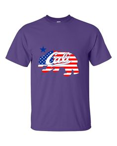 Cali Bear USA Flag Pattern California Republic bear American Flag T-Shirt
