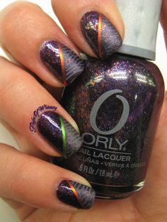 Orly:  Fair and Fowl.  Bundle Monster BM Stamping nail art.