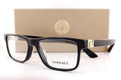 6246139b26 Brand New VERSACE Eyeglasses Frames 3211 GB1 BLACK for Men 100% Authentic  SZ 55
