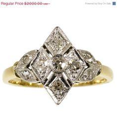 ON SALE Diamond Lozenge Ring Yellow Gold by adinantiquejewellery