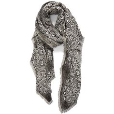 Nordstrom 'Jet Set' Jacquard Scarf featuring polyvore, women's fashion, accessories, scarves, black combo, floral scarves, floral shawl, patterned scarves, fringe scarves and nordstrom scarves