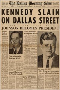 'The Dallas Morning News' front page on Saturday, November 23, 1963
