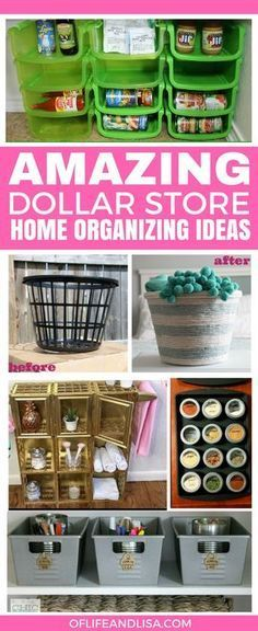 Ok, I'm seriously loving all of these DIY dollar store organizers for the home. I need to make a trip to Dollar Tree asap! Dollar Store Hacks, Dollar Stores, Dollar Dollar, Dollar Tree Organization, Craft Organization, Organizing Ideas, Bedroom Organization, Dollar Tree Storage Bins, Household Organization