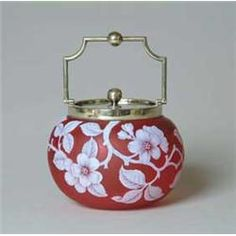 English Cameo Biscuit Jar Nicely Detailed White Cameo Apple Blossos, Leaves And Branches Against A Red Background, Fitted With Silver-Plate Collar, Handle And Lid