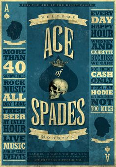 ACE OF SPADES printed on blueback paper
