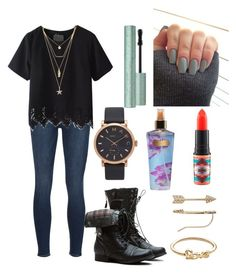 """School Outfit #91"" by liziekay ❤ liked on Polyvore featuring Frame Denim, LC Lauren Conrad, Forever 21, Marc Jacobs, MAC Cosmetics and Victoria's Secret"