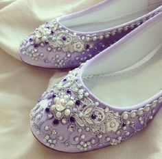 Purple Wisteria Bridal Ballet Flats Wedding by BeholdenBridal, $205.00 (Cinderella alternative?)