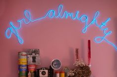 Light up your life without spending a fortune. DIY neon sign at Rookie. Neon Light Signs, Neon Signs, Diy Neon Sign, Diy Light Fixtures, Sign Lighting, Lighting Ideas, Diy Signs, Light Of My Life, My New Room