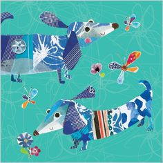 Sausage Dogs | Handmade Greeting Card - Clare Maddicott Publications - Greeting cards, gift wrap & stationery Fancy Chickens, Dachshund Art, Dog Stories, Bow Wow, Cute Characters, Pet Dogs, Weiner Dogs, Dog Art, Dog Lovers