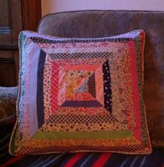 Cushion using offcuts/end of bias binding rolls from over 40 different designs that we sell