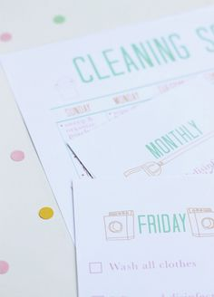 Printable Cleaning Schedule - and its cute so maybe i'll do it more often;)