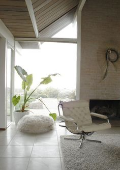 sheep skin bean bag. haha this is fab. eclectic living room Eclectic Eichler living room