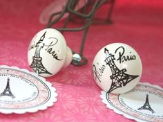 PARIS Cabinet Knobs - Set of 6 - Good for french themed bathroom