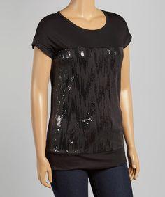 This Black Zigzag Sequin Scoop Neck Top - Plus is perfect! #zulilyfinds
