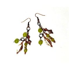 Dangle Drops Long Earrings - Bright Colors Olive Green Peridot Beaded Dangle Clusters Handmade Women Fashion Jewelry - Mother's Day Birthday Gift