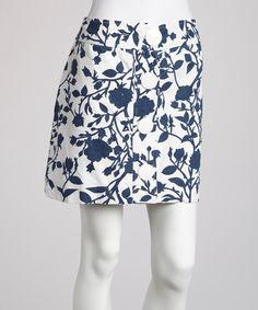 Blue & White Floral Button-Front Skirt by Sweet Sinammon #zulily #zulilyfinds