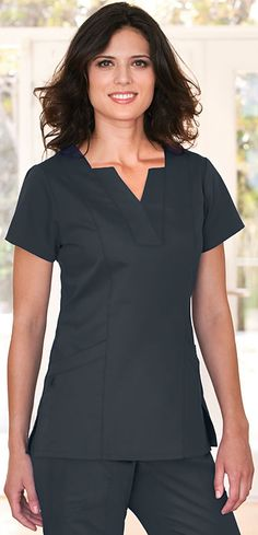 Scrubs - Greys Anatomy by Barco Mock Inset Scrub Top | Lydias Scrubs and Nursing Uniforms