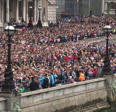 The ultimate street party! ONE MILLION Jubilee spectators line the banks of the Thames to celebrate with her Majesty as she passes on Royal barge