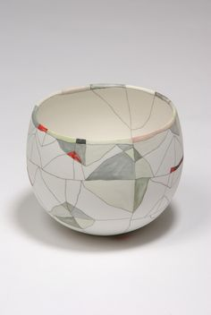 """A Flickering Moment, 2013, by ceramicist Tania Rollond (b 1973, Australia) - Says the artist """"A scratched line or a brushstroke on clay are marks which both fix an instant, and outlive the centuries – the pot is a messenger across time."""""""