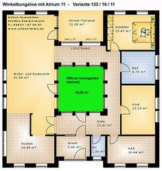 Atrium 11 Winkelbungalow 133 16 11 Einfamilienhaus Neubau Massivbau Stein auf Stein