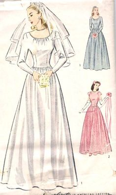 """1940s Misses Wedding Gown and Evening Dress Vintage Sewing Pattern, Simplicity 1321 Bust 32"""" UNCUT"""