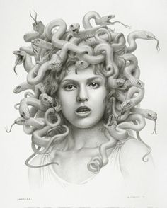 Well, I suppose Medusa is a natural next step into playing with feminine forms and snake forms. Medusa, the evil snake-witch.Creepy, spittin' image of someone from eons past. Medusa Kunst, Medusa Art, Medusa Gorgon, Medusa Tattoo, Medusa Head, Medusa Drawing, Medusa Snake, Snake Art, Greek Monsters