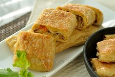 Chinese Cuisine - Yuba Wraps (Beancurd Sheet Rolls or Tofu Skin Rolls) by Taste HK Tofu Recipes, Wrap Recipes, Asian Recipes, Vegetarian Recipes, Vegetarian Dish, Cooking Recipes, Cooking Tips, Yummy Recipes, Yummy Yummy