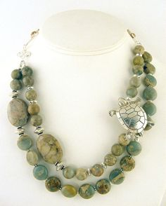 Gemstone Beaded Necklace Turtle Brooch by JenniLeighCreations, $98.00