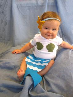 Baby Mermaid Halloween Costume - turquoise, blue, green - Baby Halloween Costume - Starfish - ocean - Made with Felt Applique - photo prop by LucysArtEmporium on Etsy